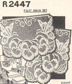 Butterflies Pansies Vintage Filet Crochet Chair Back Set Pattern Filet Crochet, Crochet Patterns Filet, Crochet Chart, Thread Crochet, Knit Crochet, Knitting Patterns, Tatting Tutorial, Crochet Home, Vintage Crochet