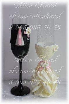 Wedding glasses in bride and groom sryle wedding by AlisaKarol Wedding Toasting Glasses, Wedding Champagne Flutes, Toasting Flutes, Champagne Glasses, Orange Wedding, Ivory Wedding, Wedding Favors, Wedding Decorations, Bride And Groom Glasses