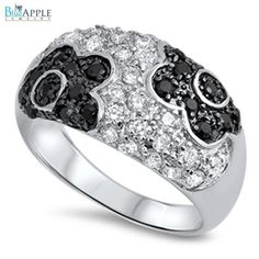 Sun Flower Ring Solid 925 Sterling Silver Round Clear Ice Jet Black Flowers Fashion Ring Journey Jewelry Top Gift