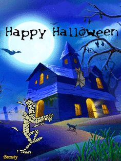 Witch Moon Flying Window Happy Halloween Animations Animation