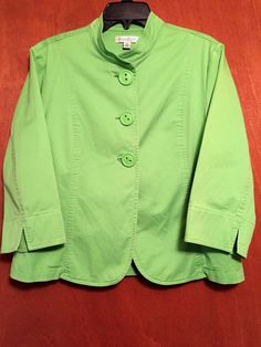 4c602593b1 Coldwater Creek Jacket Button up Green 3 4 sleeve Cotton Women s Size 16  Collar