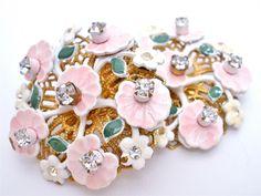 Signed Leru Pink Enamel Flower Lily Pad Rhinestone Clip Earrings Gold Vintage   eBay