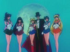 Sailor Scouts and Darien aka Tuxedo Mask