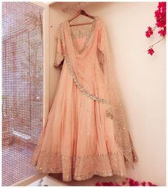 23 Ideas For Indian Bridal Wear Peach Pakistani Dresses Indian Bridal Wear, Indian Wedding Outfits, Indian Wear, Indian Outfits, Indian Gowns, Indian Attire, Pakistani Dresses, Anarkali Dress, Lehenga