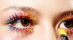 Rainbow lashes created using MAC Work It Out In Extreme Dimension Mascara, seen at Neith Nyer Paris Fashion Week Makeup Inspo, Makeup Inspiration, Makeup Tips, Makeup Ideas, Mascara, Fashion Show Makeup, Hippie Hair, Runway Makeup, Colorful Eye Makeup