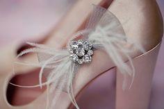 Bridal shoe clips shoe clips blue shoe clips flower by LoBoheme, $75.00