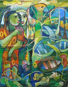 Ladies of the Lake   5' x 4'  - unfinished canvas by Geoffrey Ernest Katantazi Mukasa