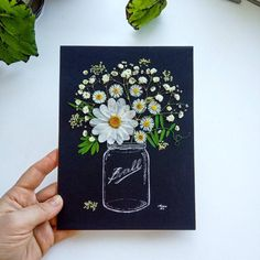 Pressed flowers in a hand-painted mason jar - Wall art - Kitchen decor - Gift for her - Pressed flowers framed - Wall decor - art - daisies Pressed Flowers Frame, Pressed Flower Art, Flower Frame, Frame Wall Decor, Frames On Wall, Wall Art Decor, Wall Art Prints, Paper Flowers Diy, Flower Crafts