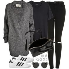 A fashion look from August 2015 featuring short-sleeve cardigan, jersey t shirt and petite jeans. Browse and shop related looks. Looks Style, Style Me, Trendy Outfits, Fashion Outfits, Womens Fashion, How To Have Style, Isabel Marant, Christian Dior, Rebecca Minkoff