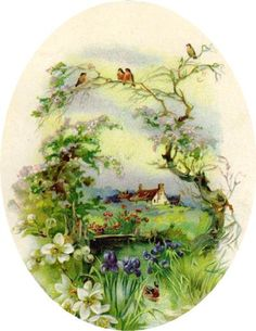 ^glanzbilder vintage spring landscape with birds and flowers around a cottage Vintage Greeting Cards, Vintage Ephemera, Vintage Pictures, Vintage Images, Spring Landscape, Landscape Art, Cottage Art, Decoupage Paper, Vintage Easter