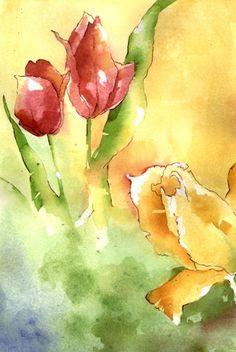 Kim Solga - Paintings Botanicals Flowers watercolors original $150