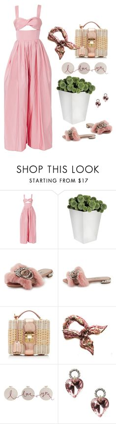 """Summer Jumpsuit"" by jacque-reid ❤ liked on Polyvore featuring Rosie Assoulin, Miu Miu, Mark Cross, Lulu Frost, gucci, RosieAssoulin and markcross"