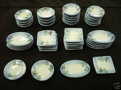 40 Piece Hand Paint  Orchid Flower Ceramic Dollhouse Miniature Supply Deco