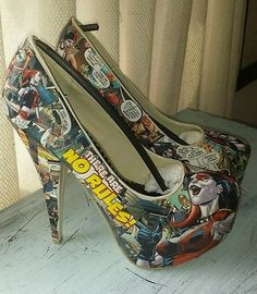 Harley Quinn Shoes ♢ Cosplay Decoupage OOAK Comicon ♢ Joker Dc Comics ♢ Batman ♢ Suicide Squad