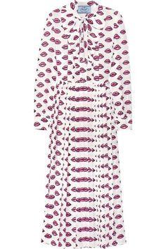 Prada - Pussy-bow Pleated Printed Crepe Midi Dress - Pink - IT44