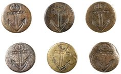 ButtonArtMuseum.com - Six Matched British Merchant Navy Buttons