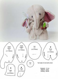 Newest Free of Charge toy Sewing patterns Style 5 Free Patterns + 1 tutorial ( Plush Elephant) Doll Patterns Free, Plushie Patterns, Animal Sewing Patterns, Loom Patterns, Pattern Ideas, Dress Patterns, Elephant Stuffed Animal, Sewing Stuffed Animals, Stuffed Animal Patterns