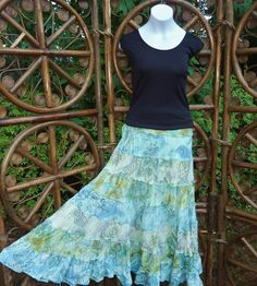 8 tiered shades of aqua lined broomstick skirt  by LamplightGifts, $23.50