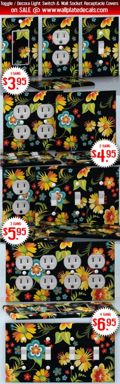 DIY Do It Yourself Home Decor - Easy to apply wall plate wraps | Grandma Garden  Cute flowers on Black background  wallplate skin stickers for single, double, triple and quadruple Toggle and Decora Light Switches, Wall Socket Duplex Receptacles, and blank decals without inside cuts for special outlets | On SALE now only $3.95 - $6.95