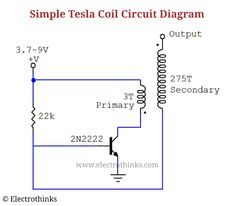 Simple tesla coil with In this electronics project, we will make a simple mini tesla coil using simple components. Tesla Coil Circuit, Physics Lessons, Circuit Design, Magnetic Field, Circuit Diagram, Nikola Tesla, High Voltage, Electronics Projects, Simple