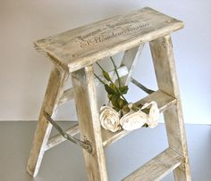 wooden ladders | French Step Stool, Vintage Stool, Wood Ladder, French Script, French ...