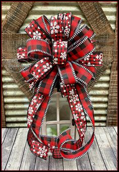 Items similar to Christmas Winter Black Red Buffalo Check White Glittered Snowflake Bow, Lantern Bow, Package Gift Bow, Farmhouse Christmas Bow, Wreath Bow on Etsy Country Christmas Decorations, Farmhouse Christmas Decor, Christmas Bows, Christmas Crafts, Christmas Packages, Christmas Sayings, Christmas Trees, Christmas Ornament, Diy Bow