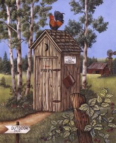 Outhouse - Rooster Fine-Art Print by Kay Lamb Shannon at FulcrumGallery.com Primitive Bathrooms, Country Bathrooms, Bird Houses, Outhouse Bathroom Decor, Bathroom Art, Bathroom Paintings, Wood Paintings, Bathroom Ideas, Primitive Folk Art