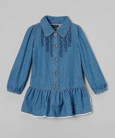Love this Denim Dot Ruffle Button-Up Dress - Infant, Toddler & Girls by Calvin Klein Jeans on #zulily! #zulilyfinds