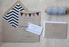 Rustic wedding invitations with a fun, modern feel. A chevron pattern is lined inside each envelope and bunting adorns each invitation. Black And White Wedding Invitations, Floral Wedding Invitations, Wedding Stationary, Cute Wedding Dress, Fall Wedding Dresses, Colored Wedding Dresses, Rustic Wedding, Our Wedding, Dream Wedding