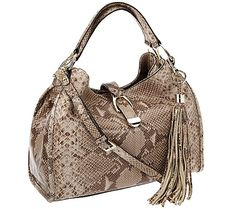 G I L I Leather Stirrup Satchel w Shoulder Strap amp Tassel Tan Snake New amp Wrapp Beautiful Handbags, Sneaker Boots, Her Style, Bag Accessories, Shoulder Strap, Satchel, Black Leather, Purses, Qvc