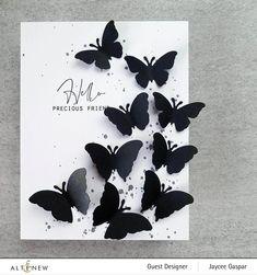 Butterfly Shape, Butterfly Cards, Paper Butterflies, Scrapbook Blog, Scrapbook Paper, Miss You Cards, Hand Drawn Flowers, Flower Stamp, Album Photo