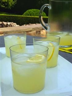 Barefoot Contessa - Recipes - Limoncello Tom Collins  1½ cups good vodka, such as Grey Goose  1 cup freshly squeezed lemon juice (6 lemons)  6 tablespoons sugar syrup (see note)  ¼ cup Italian Limoncello liqueur  1½ cups cold club soda, such as Pelligrino  Ice cubes  Sliced lemon, for serving