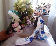 Something blue  Wedding Shoes Custom nature by norakaren on Etsy, $295.00