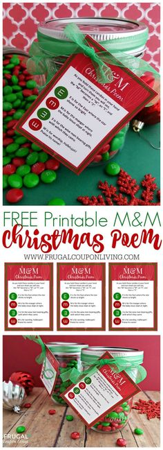 Frugal Coupon Living's M&M Christmas Poem and FREE Printable Gift Tag - The perfect homemade Christmas Gift with a Christian Focus.   E is for the East where the star shown bright. M is for the Manger where the baby Jesus slept at night.  3 is for the Wise Men bearing gifts, with which they came. W is for the Worship, Hallelujah, praise His name! #Christmas #printable #christmaspoem #chrismtasprintable #christmasgift