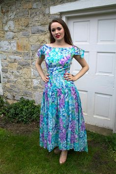 Vintage 1980s Formal Prom Dress With Purple by missruthstimebomb