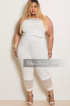 b78c2eb6a81a 50% Off Sale - Final Sale Plus Size Cropped Sleeveless Jumpsuit with Mesh  Cutouts in Off White