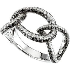 14Kw w/Black Rhodium Black And White Diamond Ring pb67447:60001:P