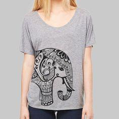 718c6332da7378 Womens Slouchy T Shirt Elephant Graphic Tshirt    Loose Fit Womens Tops