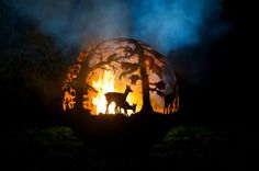 Sculptured 'English Countryside' Fire pit, Hand made spherical Fire pit 90cm