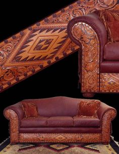 Tooled leather western sofa. $5775 at RusticArtistry.com.  Also available as a love seat, chair, ottoman or bench in a variety of leather colors.  Click now for more details.