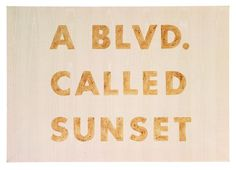 Ed Ruscha, A Blvd. Called Sunset, 1975, blackberry juice on moire