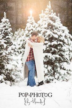 Winter Snow Engagement Couple Photo Shoot