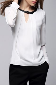 White Jewel Neck Long Sleeve Blouse WHITE: Blouses | ZAFUL