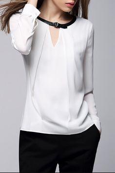 White Jewel Neck Long Sleeve Blouse WHITE: Blouses | ZAFUL