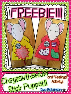 Happy Back to School! If you like to read Chrysanthemum to your students, grab this Stick Puppet FREEBIE for a fun reading comprehension craftivity!