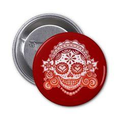 La Catrina Sugar Skull Button