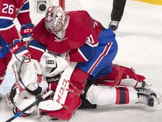 Montreal Canadiens goalie Carey Price punches New Jersey