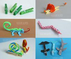 Manualitats amb agulles d'estendre per fer amb nens: animals / @totnens