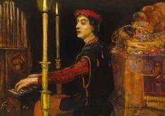 Gulácsy Lajos - AZ ORGONISTA  1910 körül  Olaj, karton (magángyűjtemény)