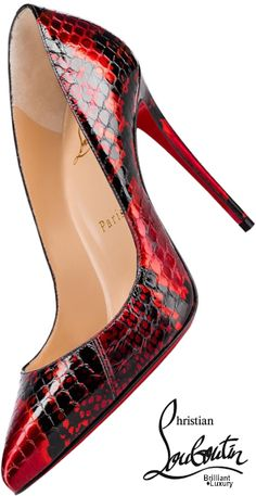 Brilliant Luxury♦Christian Louboutin Pigalle Follies in liquid-sleek red and black snakeskin . Brilliant Luxury♦Christian Louboutin Pigalle Follies in liquid-sleek red and black snakeskin pumps, Christian Louboutin Pigalle, Louboutin Pumps, Pumps Heels, Louboutin Shoes Women, Heeled Sandals, Stilettos, Pretty Shoes, Beautiful Shoes, Red Shoes